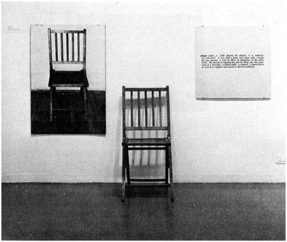 """Джоузеф Косут, Един и три стола, 1965 (Дървен стол, фотография и речникова дефиниция на думата """"стол"""")"""