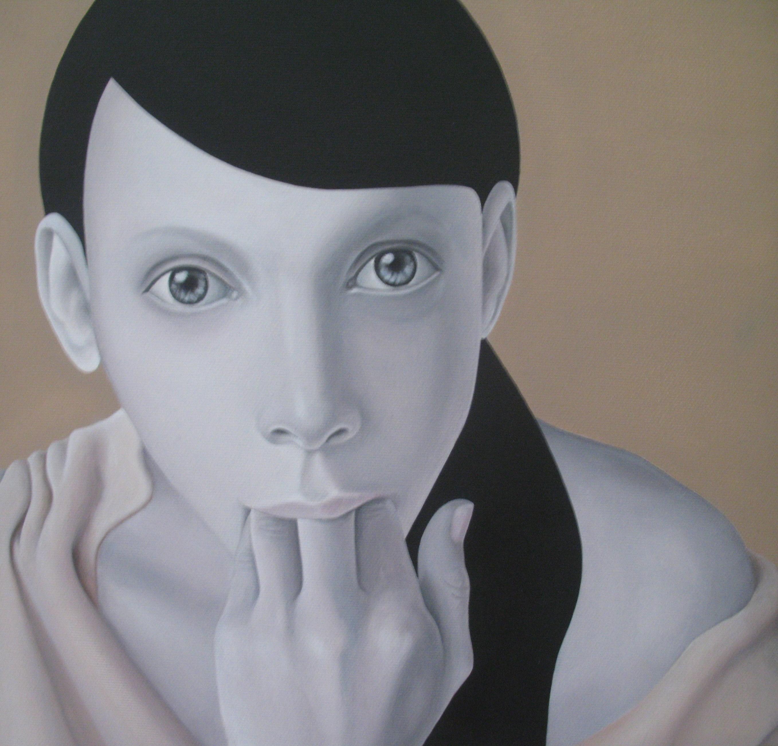 Искра Благоева, Love yourself, 2009, акрилни бои, платно, 30x30 см. Колекция Румен Драганов.