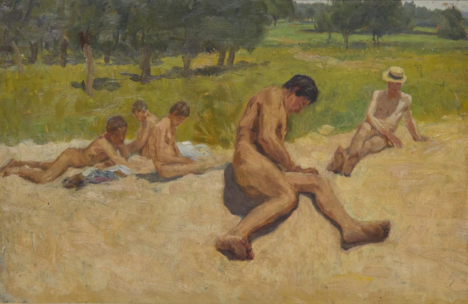 Семейството на художника на нудистки плаж, от Станю Стаматов, 1921